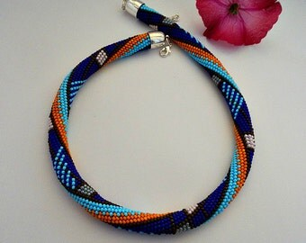 Bead crochet crochet chain-color-necklace-necklace-bead crochet rope Necklace - Bead crochet jewelry