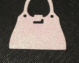 12 die cut handbags - white glitter