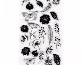 Summer Floral Flower Meadow Set of 25 Clear Cling Stamps