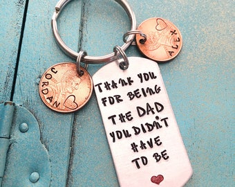 Personalized Step Dad Keychain, Fathers Day Gift, Hand Stamped Penny Stepfather Key Ring, Step Father Gift Key Ring, Stepdad Birthday Gift