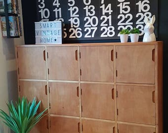 Now Sold but have another exact one coming available. Grey Frame, wooden doors Fabulous Original Vintage Mid Century Wooden School Lockers