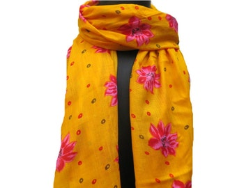 Yellow scarf/ multicolored scarf/ cotton  scarf/ floral scarf / fashion scarf/ gift scarf/  gift ideas.