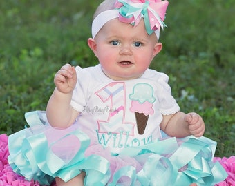 Ice Cream Birthday Outift - Ice Cream Shirt Or Bodysuit - Girls First Birthday Outfit - Pink Mint Ribbon Tutu - Headband