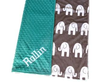 Gray Elephant Personalized Minky Baby Blanket - Personalized Minky Blanket - Baby Girl or Boy - Minky Baby Blanket - Gray Elephant Blanket