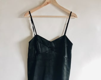 "Vintage Black 100% Silk ""Banana Republic"" Camisole Bustier Fitted Spaghetti Strap Size 4"