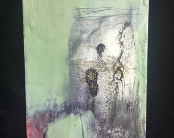 "5"" x 7"" encaustic and mixed media paintings"