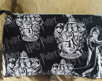 Black, gray and white Harry Potter cosmetic bag,  make-up bag,  zipper pouch,  Harry Potter bag,  Harry Potter accessories.  4girlsbags