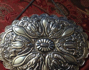 SALE! Vintage Turkish 900 coin silver repousse mirror