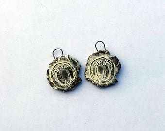 Water Turtle Greek Coin  - Withered Rough Artifacts -  Earring Pair Ceramic