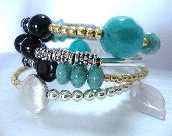 Beaded Bracelet, December birthstone, double wrap bracelet, autum fall jewelry, wedding bracelet, yoga beads multi strand barcelet, space UK