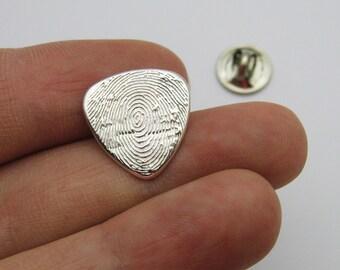 Fingerprint Jewelry, Silver Fingerprint Guitar Pick Tie Tack, Guitar Pick Fingerprint, Silver Tie Tack, Tie Pin, Hat Pin, Memorial Lapel Pin
