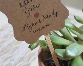 """Personalized Favor Tags with stick 2x2"""", Wedding tags, Thank You tags, Favor tags, Gift tags,  let love grow, watch me grow, (one side)"""