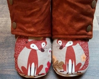 Baby/toddler non slip stay on fox/fall/Thanksgiving booties