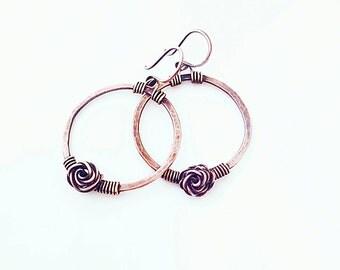 Hammered medium hoops hammered hoop earrings copper wire earrings wire wrapped jewelry hammered circle earrings roses wire earrings hoops