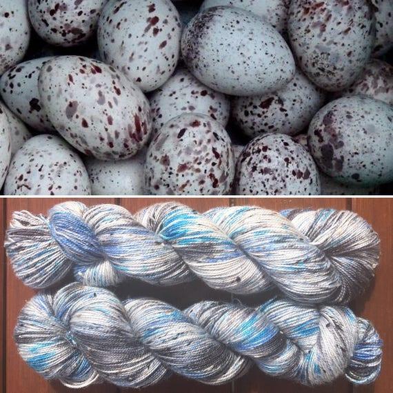 Eggshells Donegal sock, speckled blue grey gray indie dyed merino yarn