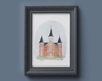 Provo City Center LDS Temple Watercolor Print