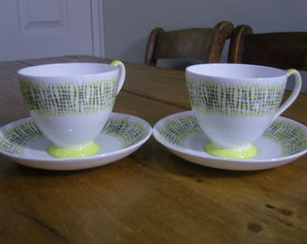 """Two Retro Queen Anne """"Checkmate"""" Cups and Saucers,"""