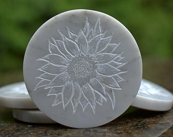 Marble coaster set hand cut round shape stone drink wear Sunflower design