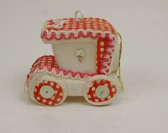 Vintage Christmas Ornament, Red and White, Flocked, Christmas Car