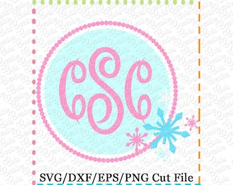 Snowflake Monogram Frame SVG Cutting File, snowflake cut file, snowflake cutting file, monogram frame svg, LIMITED commercial use