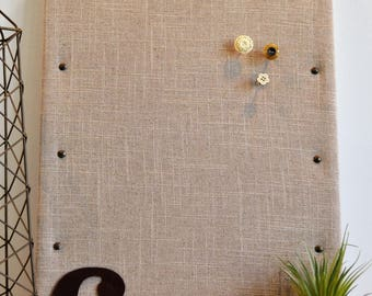 Personalized Cork Bulletin Board, Linen Fabric Covered Cork Board with Push Pins, Pin Board and Wall Decor