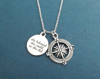 She believed, she could..., so she did, Compass, Silver, Necklace, Travel, Navigation, Accomplishement, Achievement, New year, Gift, Jewelry