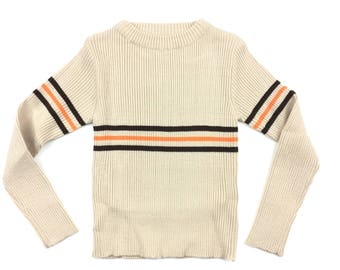 Vintage striped ribbed jumper sweater deadstock age 3 1970s