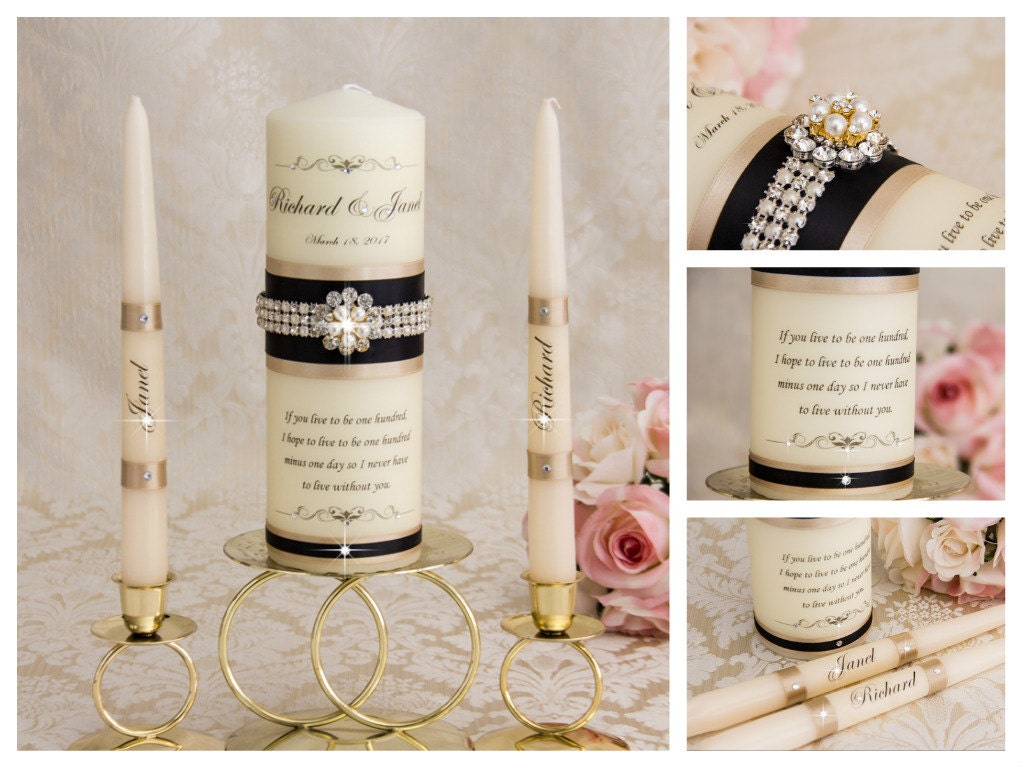 Wedding Candles: Champagne Unity Candles Personalized Wedding Unity Candles