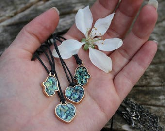 Gold Faux Opal Gemstone Heart/Hamsa/Elephant Charm Choker Necklace