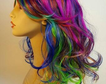 Rainbow Wig, Mid-Lenght Rainbow Wig, Rainbow Bob Wig, Wavy Rainbow Wig, Wavy Mid-Lenght Rainbow Bob Wig,