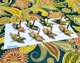 "100pcs Multi-colored 1.5"" Batik Design Origami Cranes Hand-folded From 1.5""x1.5"" Square Paper. (WR paper series). #FC15-57."