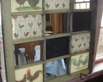 Antique Farmhouse Window Repurposed / ReCreated Information Center Communication Board Mirrors/Chaulkboards/Post-it Pin Pads Antique Hangers