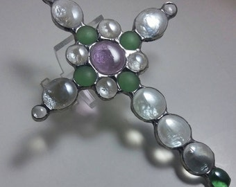 Cross Suncatcher, Stained Glass Cross Suncatcher, Christian Gift, Inspirational Gift, Purple, Green & Clear Glass Gems, free shipping