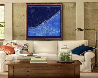 "1911 Cleveland Harbor map, Vintage Cleveland nautical map reprint - 3 large/XL sizes up to 48"" x48"" in 1 or 4 parts and 3 three colors"
