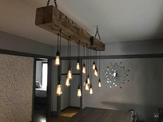 84 barn beam light fixture with 16 led edison bulbs for Suspension exterieur luminaire