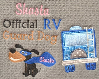 "Custom Camping Pet Placemat, RV Pet Feeding Mat, Camper Dog Placemat, Dog Dish Mat, Trailer, RV,  Camper, 5th Wheel, 16""x18"" Machine W/D,"