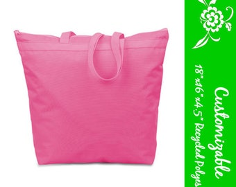 Large Zipper Tote Bag, personalize with monogram or name - 25 Colors, Recycled Polyester, Wedding, Bridesmaid, Bulk Discount, Custom order