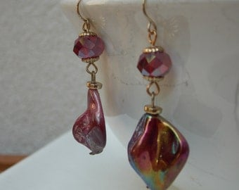 Handmade Glass Bead Earrings, Dangle, Red & Gold