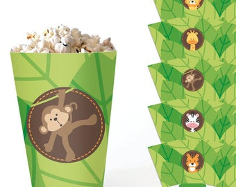 Safari Popcorn Boxes. Printable Favor Boxes - Treat Boxes. Jungle Party Favor Boxes. Kids Birthday or Baby Shower Candy Box. DIY Table Decor
