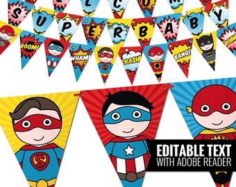 Superhero Baby Shower Banner. Comic Book Theme Bunting Banner. Printable Pennant Garland. Superheroes Baby Shower Decorations - Editable