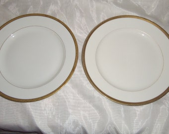 Antique Set of 2 Coronet Borgfeldt Limoges China Dinner Plates w Gold Trim