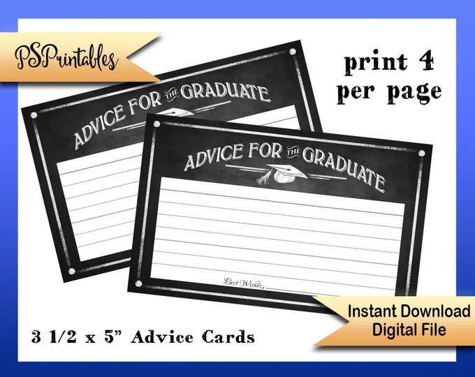 Printable Graduation Advice Cards, advice for graduate cards, graduate advice cards, DIY graduation, chalkboard graduation, printable grad