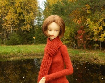 Doll Wool Sweater with Scarf Rusty Color