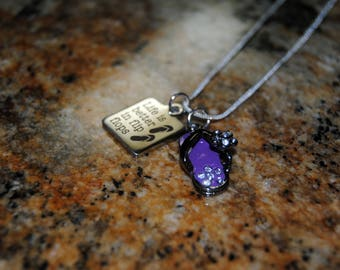 Flip Flop Necklace with Quote - Purple