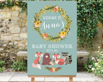 Printable Baby Shower Welcome Sign Woodland Baby Shower Large Welcome Sign Digital Sign pdf jpg The Harper