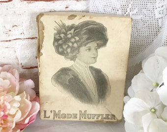 Antique Edwardian Winter Scarf Glove Box w/ Pretty Lady Portrait, Dresser Box, Woman Gibson Girl, B Tichtman trinket decorative storage