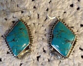 Large Blue Turquoise with Black Matrix Earrings