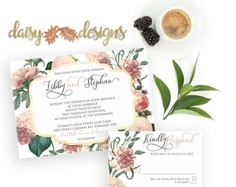 pink and gold wedding invitations | etsy, Wedding invitations