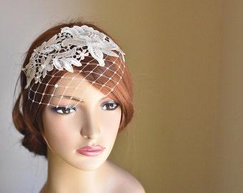 Bridal Headband, Birdcage Veil Ivory, Birdcage veil headband, Lace Headband, Ivory Birdcage veil, Lace wedding veil, Blusher veil