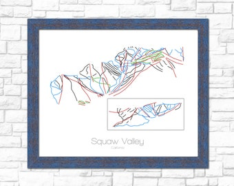 Squaw Valley Map California CA Ski Snowboard Trail Art --- Print, Poster, Picture ---Frame, Gift, Present --- Resort, Mountain, Snow, Winter